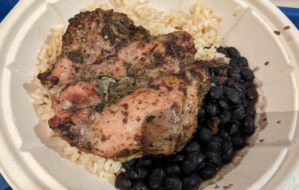 Chicken, rice, and black beans from Disney's Caribbean Beach Resort's Centertown Market