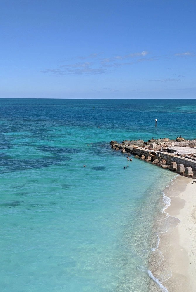 Turquoise waters and sandy beach at Fort Jefferson