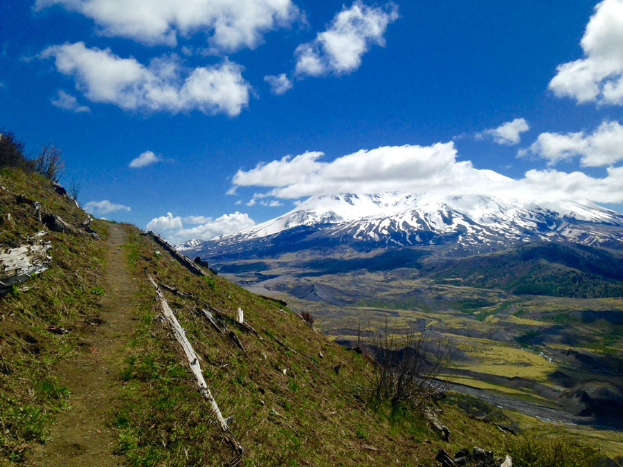 View of snow-covered Mount Saint Helens in Washington
