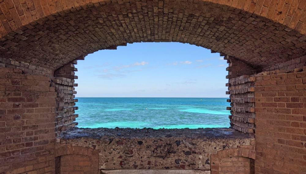 Turquoise waters viewed from a window in Fort Jefferson