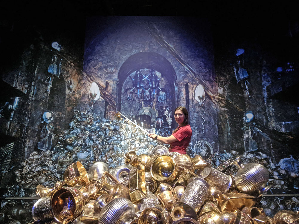 Woman posing in a recreation of the Lestrange vault