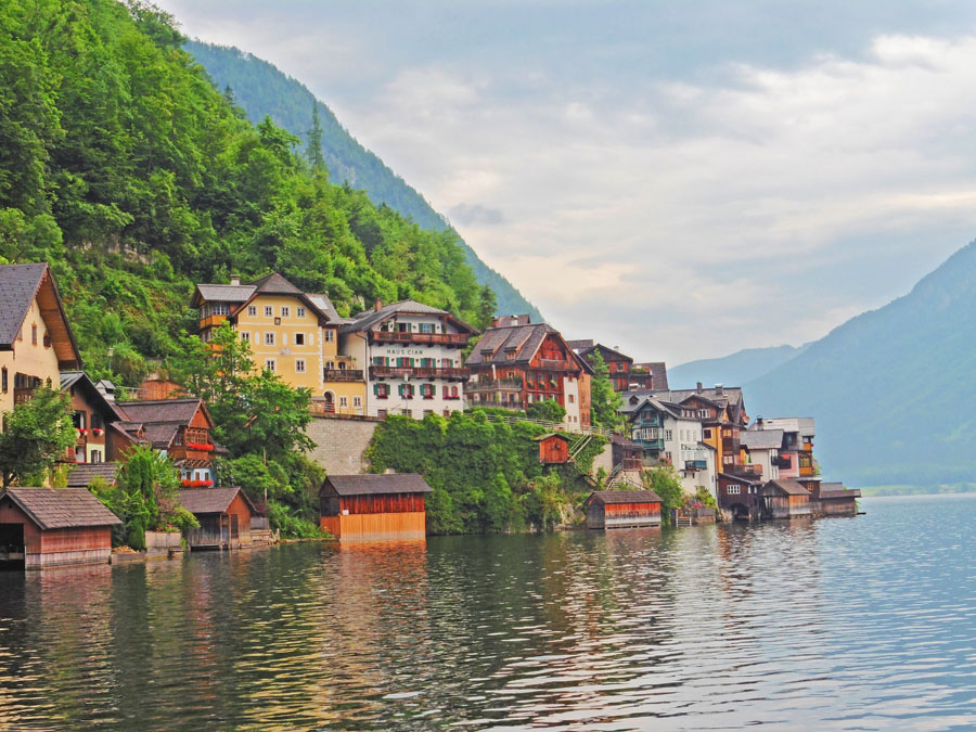 Colorful houses along the lake in Hallstatt