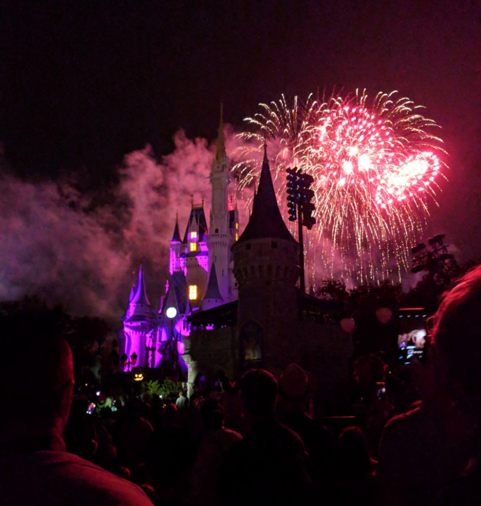 Happy HalloWishes fireworks over Cinderella Castle