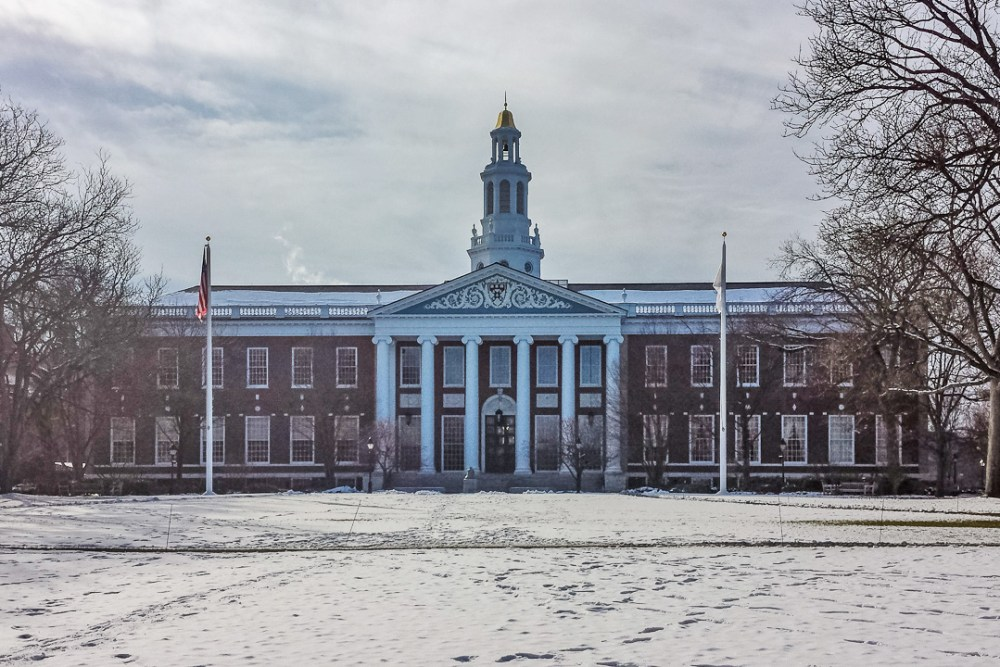 Snow-covered building on Harvard's campus