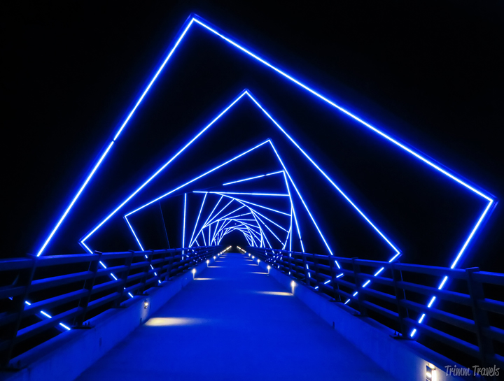 Neon lights over a bridge at night