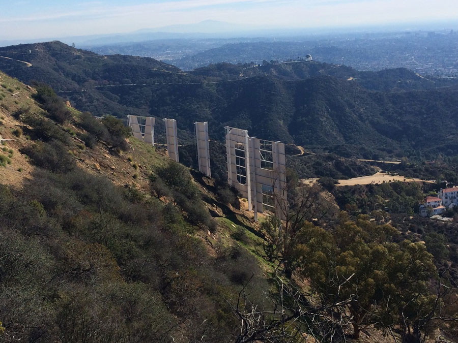 Photo from behind the Hollywood sign