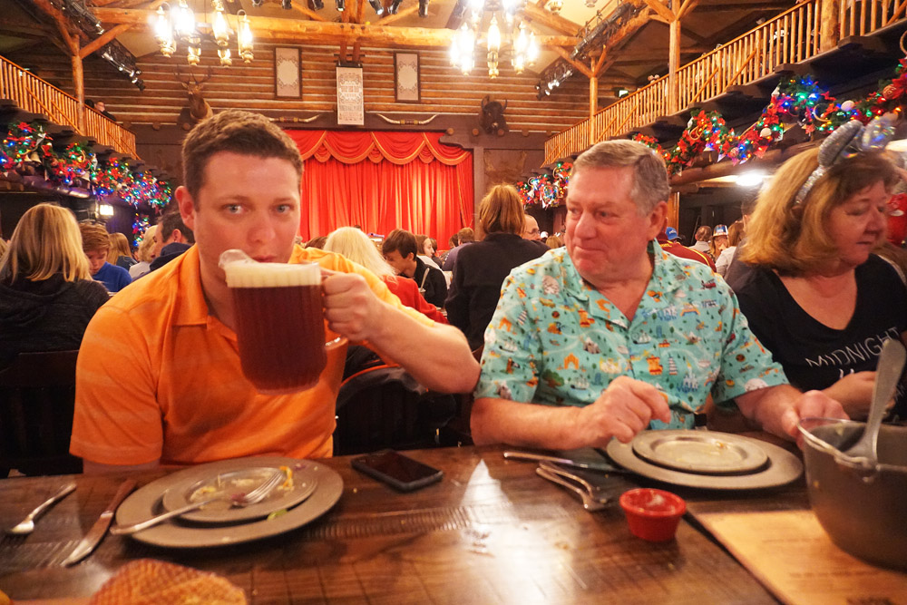 Guest drinking from a pitcher of beer at the Hoop Dee Doo