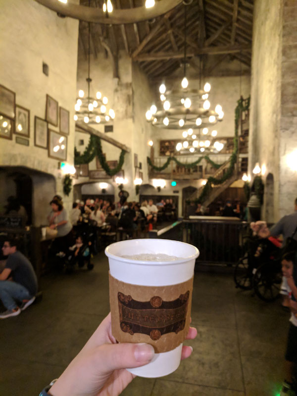 Hot butterbeer in the Leaky Cauldron in Diagon Alley