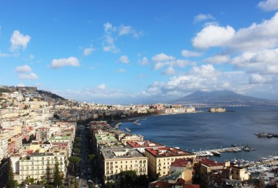 Naples with Mt. Vesuvius in the background