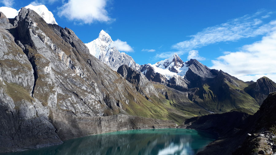 Rugged mountain peaks along the Huayhuash trail in Peru