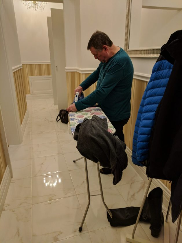 Ironing clothes in Prague, Czech Republic - Air France lost luggage