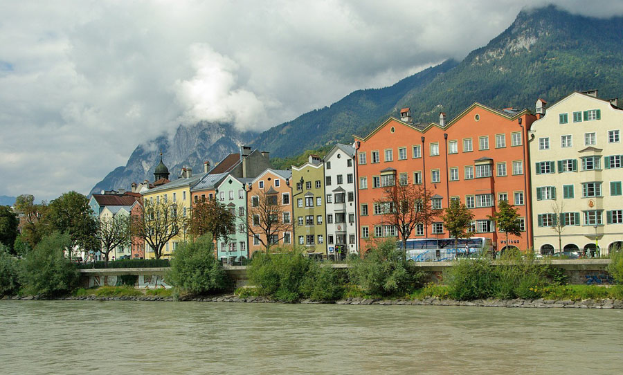 Colorful houses in Innsbruck, Austria