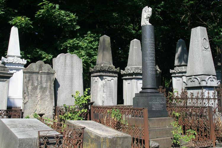 Graves in a Jewish cemetery in Warsaw, Poland
