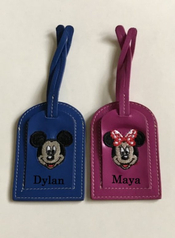Luggage tags with Minnie and Mickey