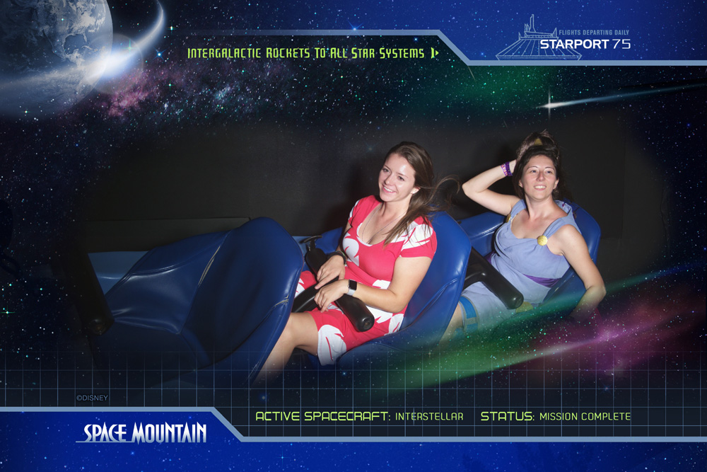 Women dressed as Lilo and Megara riding Space Mountain at Mickey's Not So Scary Halloween Party