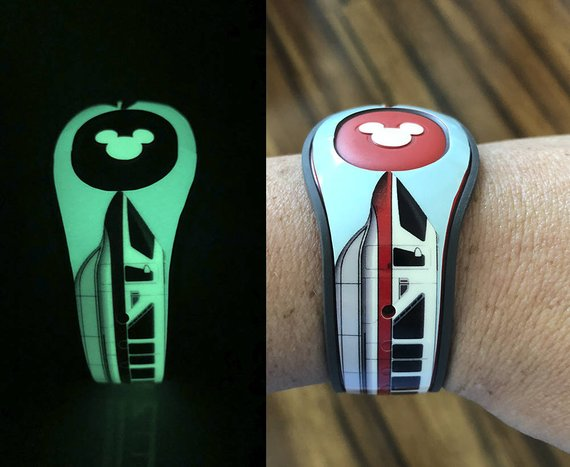 Glow in the dark Disney monorail Magic Band skin