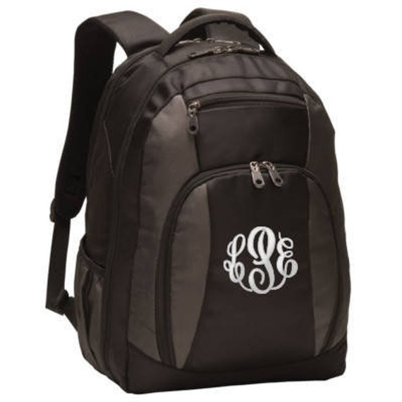 Monogrammed black backpack