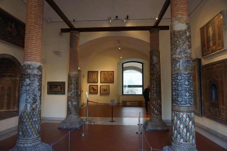 Mosaic columns from Pompeii at the Naples Archaeological Museum