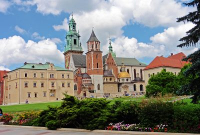 Wawel Castle courtyard with trees and a cathedral