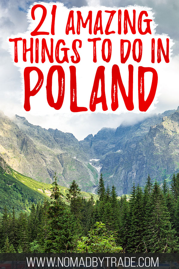 "Trees and mountains in the Polish Tatras with text overlay reading ""21 amazing things to do in Poland"""