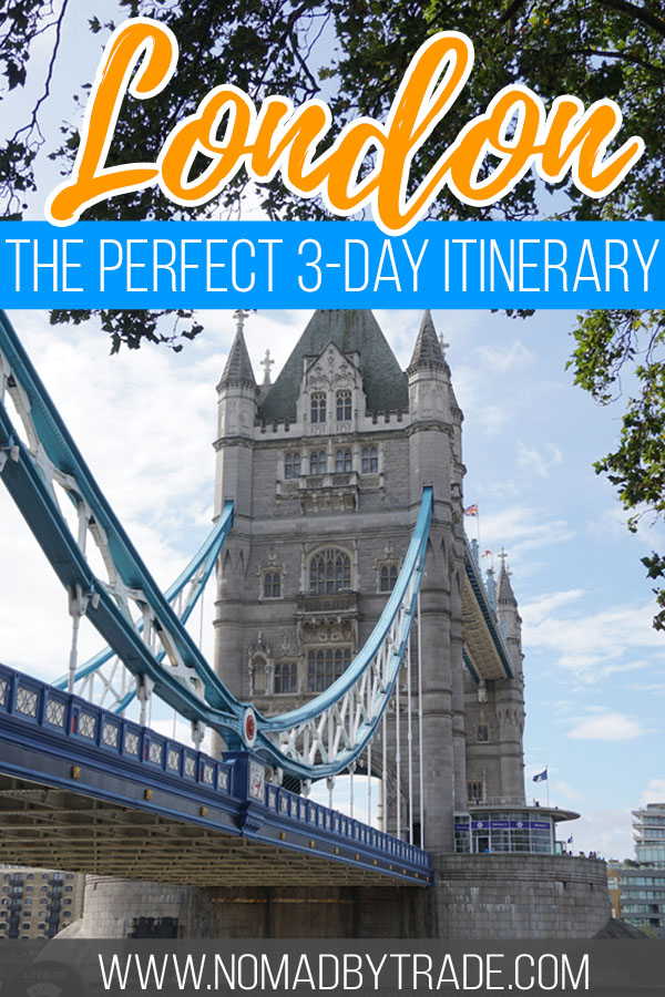 "Photo of the Tower Bridge with text overlay reading ""London - the perfect 3-day itinerary"""