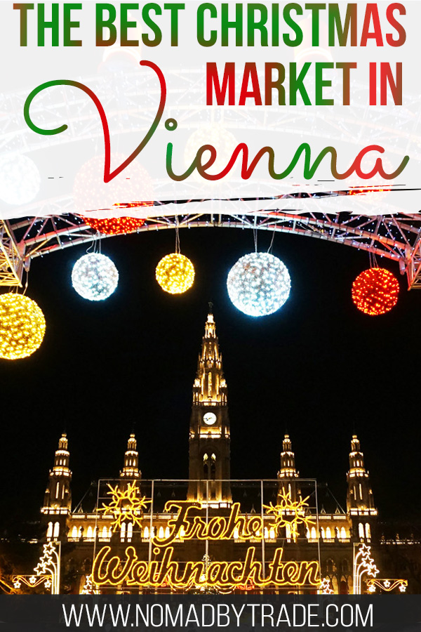 Christmas lights at the Vienna Rathaus with text overlay