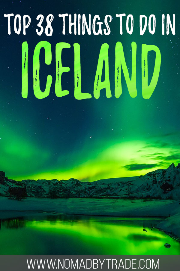 "Photo of the Northern Lights with text overlay reading ""Top things to do in Iceland"""