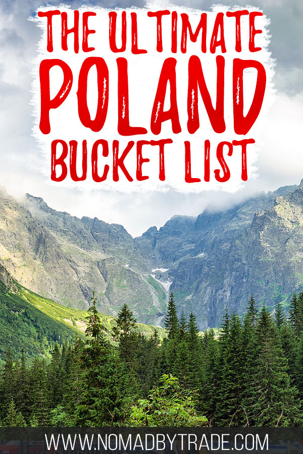 """Trees and mountains in the Polish Tatras with text overlay reading """"The ultimate Poland bucket list"""""""