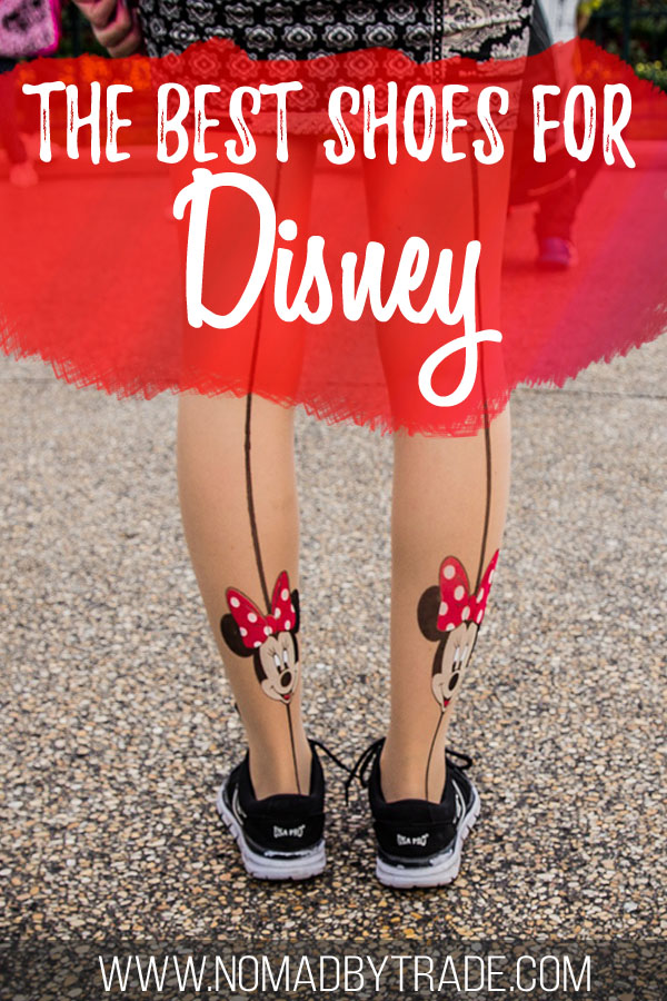 """Woman wearing shoes and Minnie Mouse tights with text overlay reading """"The best shoes for Disney"""""""