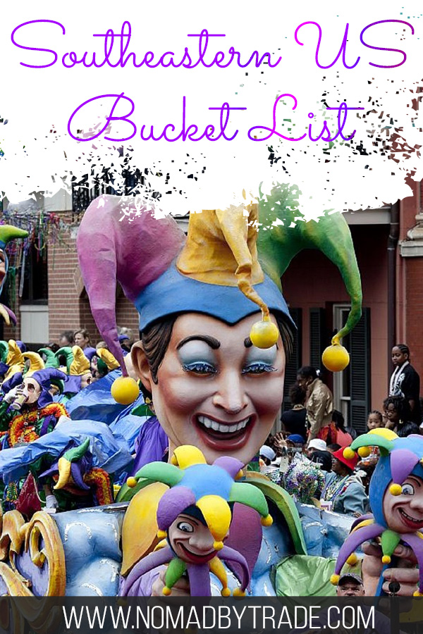 "Mardi Gras float with text overlay reading ""Southeastern US Bucket List"""