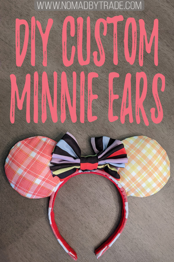 "DIY Minnie Mouse ears headband with text overlay reading ""DIY custom Minnie ears"""