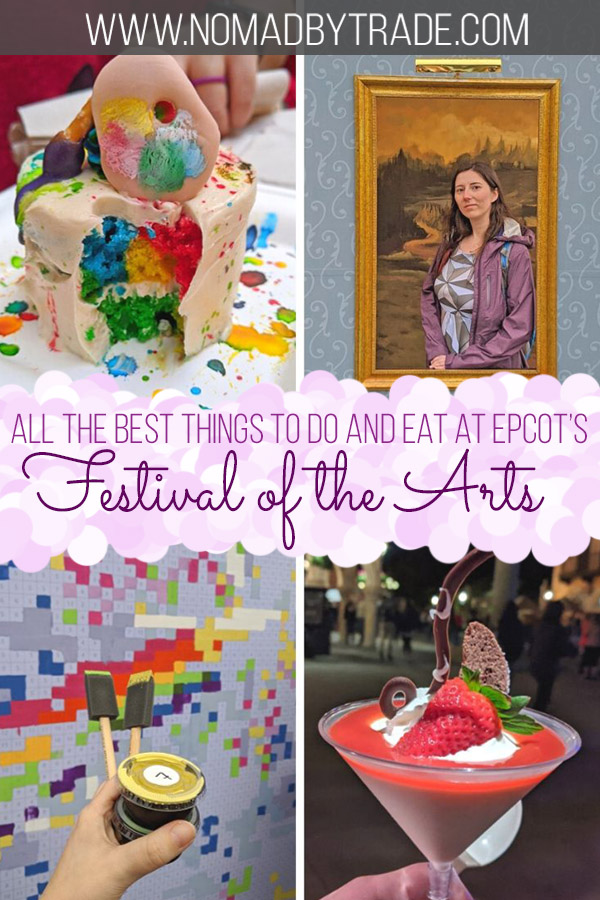 "Photo collage with text overlay reading ""All the best things to do and eat at Epcot's Festival of the Arts"""