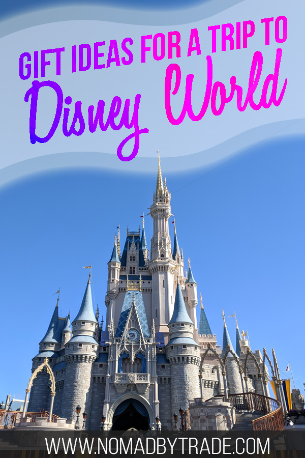 "Cinderella Castle with text overlay reading ""Gift ideas for a trip to Disney World"""