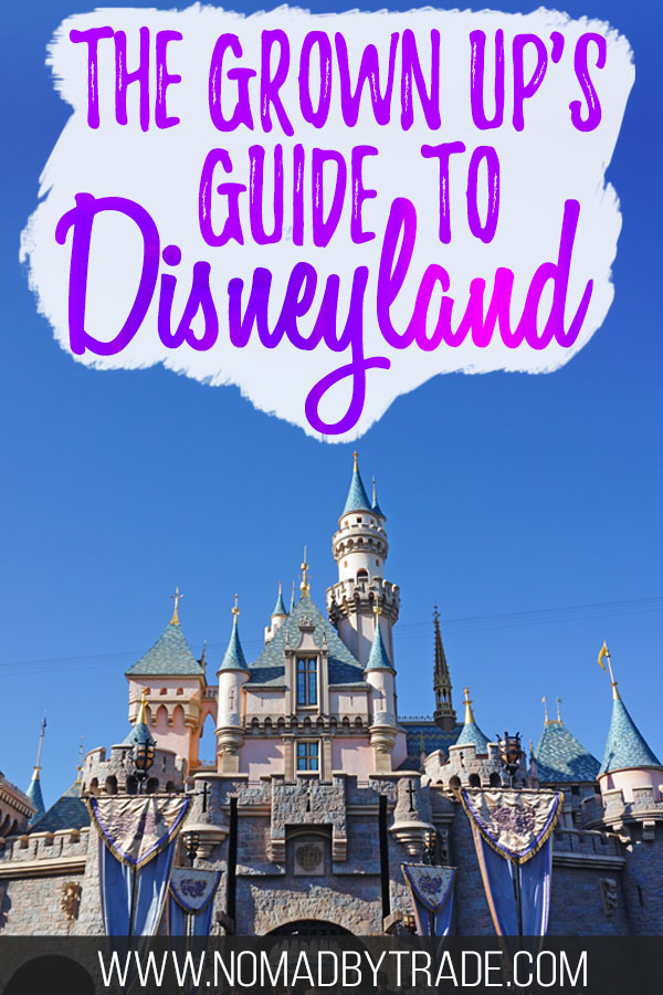 "Sleeping Beauty castle with text overlay reading ""The Grown up's guide to Disneyland"""