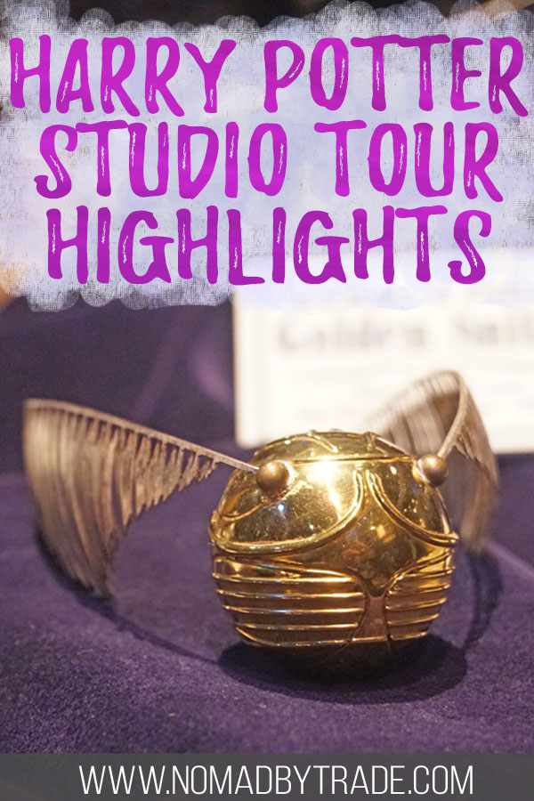 "Golden snitch with text overlay reading ""Harry Potter studio tour highlights"""