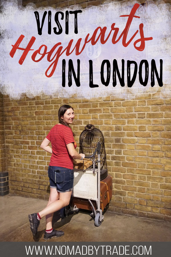 """Photo of a woman at Platform 9 3/4 with text overlay reading """"Visit Hogwarts in London"""""""