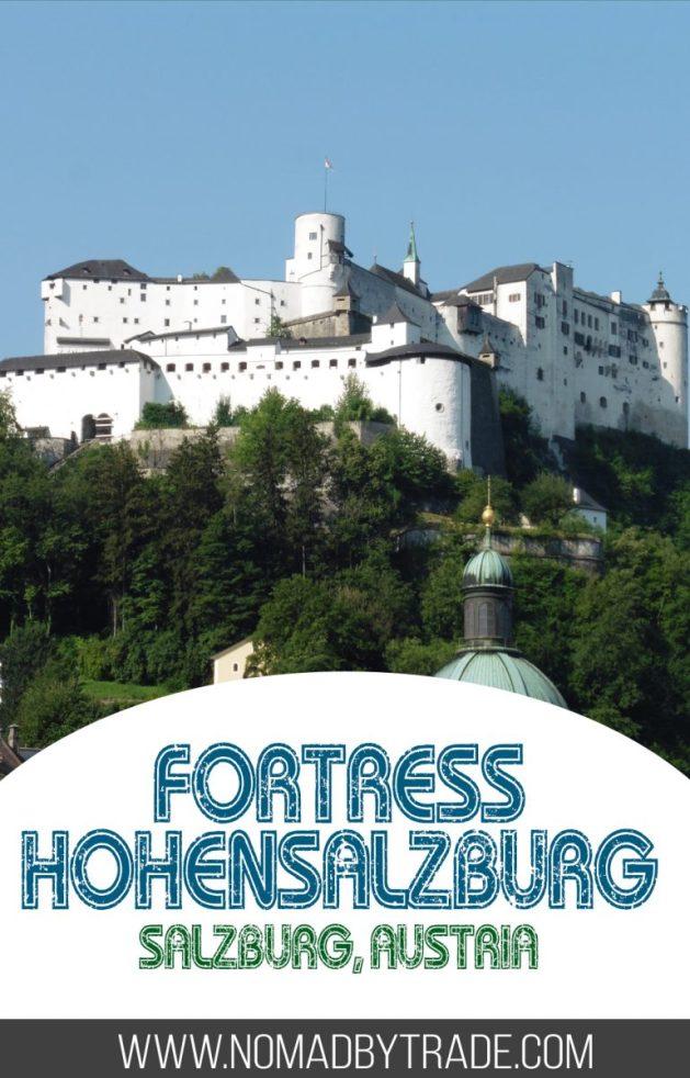 White Festung Hohensalzburg atop a mountain in Salzburg with text overlay