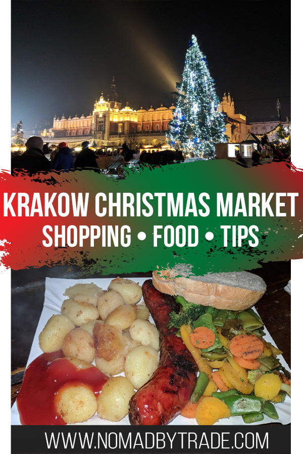 "Photo collage with text overlay reading ""Krakow Christmas Market - shopping - food - tips"""