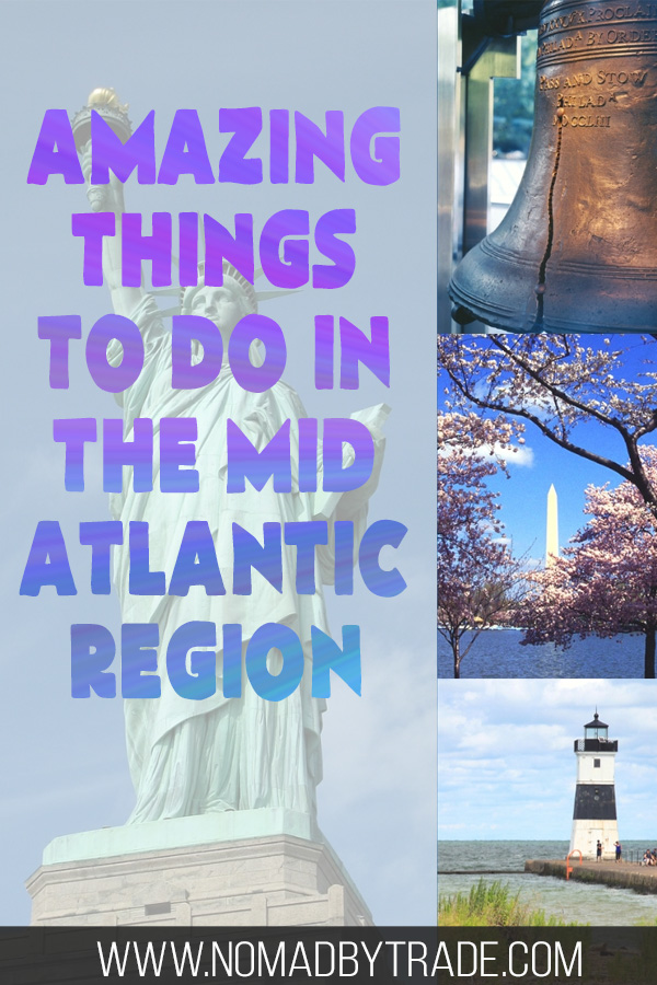 "Photo collage with text overlay reading ""Amazing things to do in the Mid Atlantic region"""