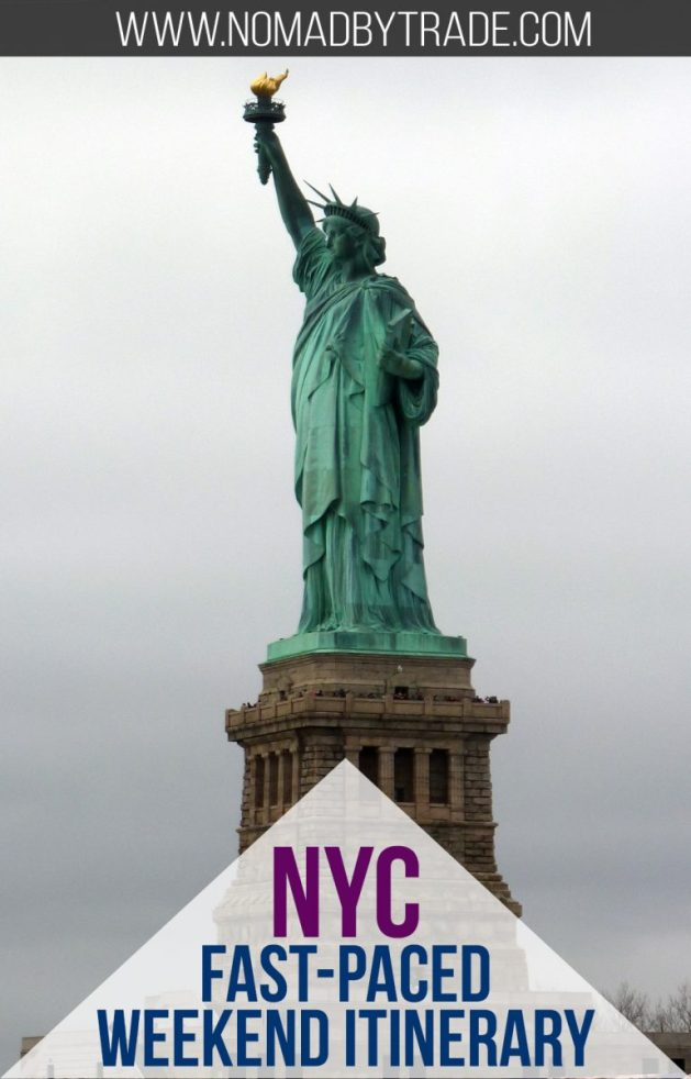 This action-packed itinerary for a weekend in New York City fits in all of the popular highlights. You'll need lots of energy, but it's entirely possible to cover the Statue of Liberty, Ellis Island, Central Park, Times Square, a Broadway show, the UN Headquarters, and a top museum in just two full days. #NYC   #NYCHighlights   #NewYorkCity   #NYCItinerary   Things to do in NYC   #CentralPark   #Broadway   #TimesSquare   New York City itinerary   Weekend getaway