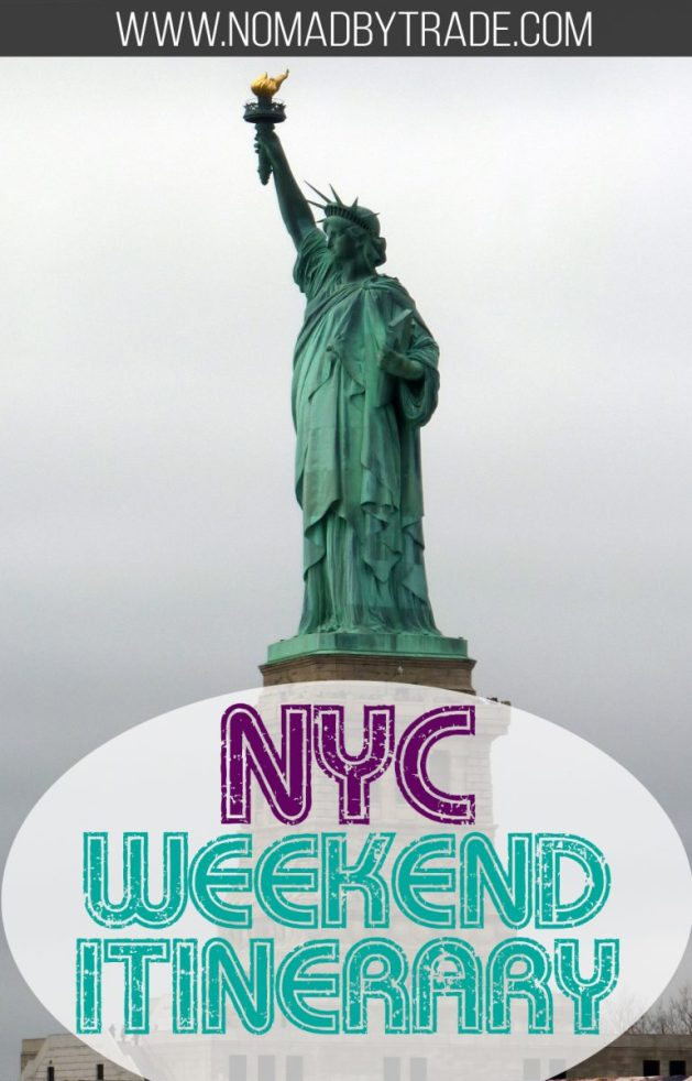 This action-packed itinerary for a weekend in New York City fits in all of the popular highlights. You'll need lots of energy, but it's entirely possible to cover the Statue of Liberty, Ellis Island, Central Park, Times Square, a Broadway show, the UN Headquarters, and a top museum in just two full days. #NYC | #NYCHighlights | #NewYorkCity | #NYCItinerary | Things to do in NYC | #CentralPark | #Broadway | #TimesSquare | New York City itinerary | Weekend getaway
