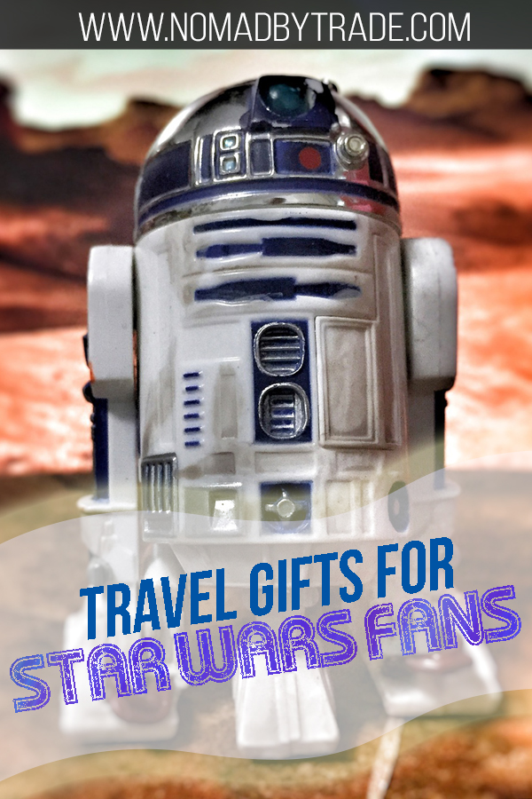"R2-D2 action figure with text overlay reading ""Travel gifts for Star Wars fans"""