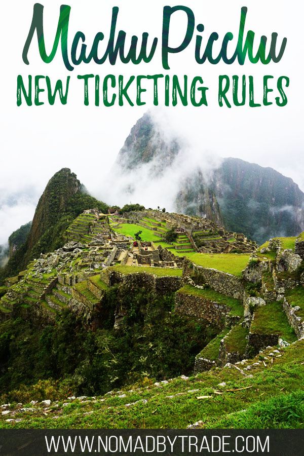 "Photo of Machu Picchu with text overlay reading ""Machu Picchu new ticketing rules"""