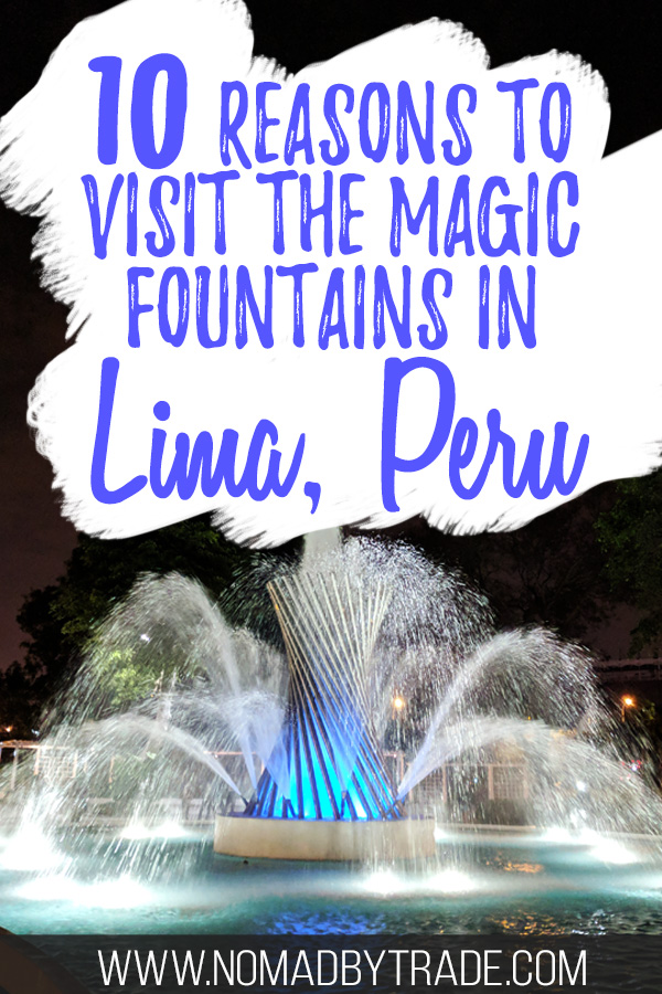 Large fountain at the Parque de las Aguas with text overlay