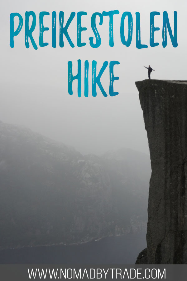 "Person standing on Norway's Pulpit Rock with text overlay reading ""Preikestolen hike"""