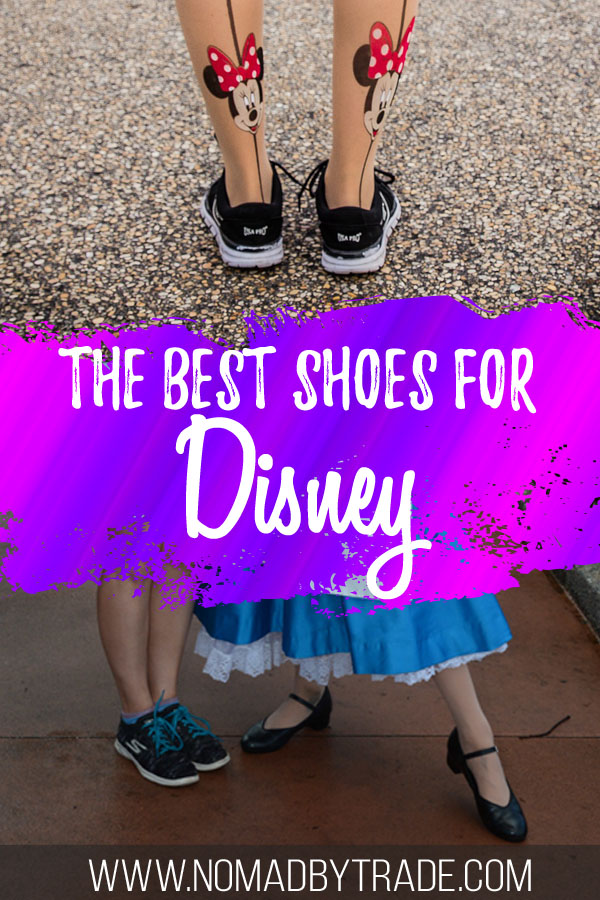 Photo collage featuring walking shoes for Disney