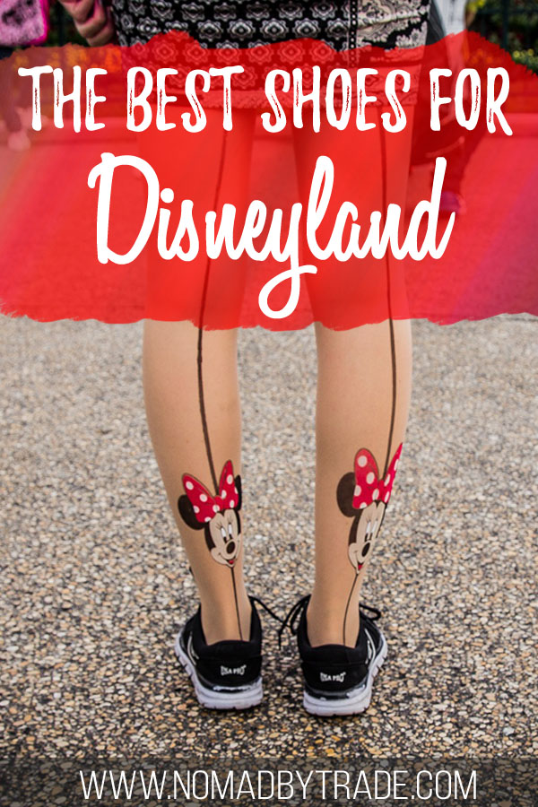 "Woman wearing shoes and Minnie Mouse tights with text overlay reading ""The best shoes for Disneyland"""