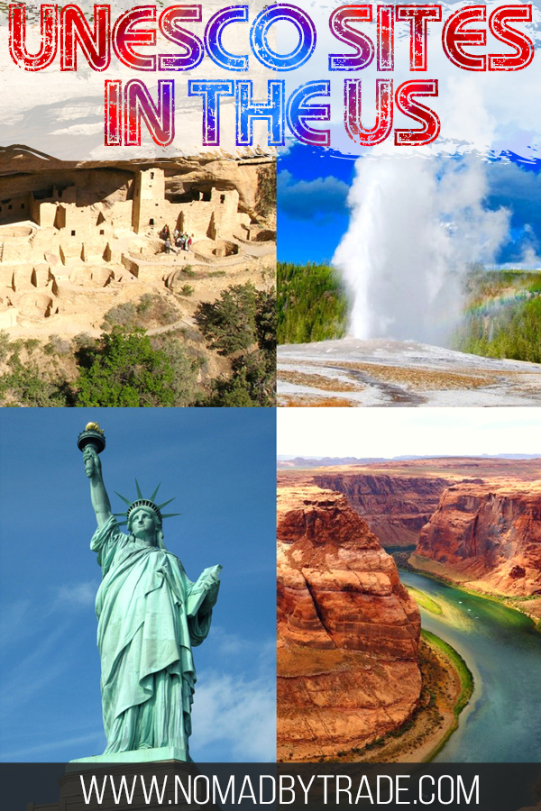Collage including Old Faithful, Mesa Verde dwellings, the Grand Canyon, and the Statue of Liberty with text overlay