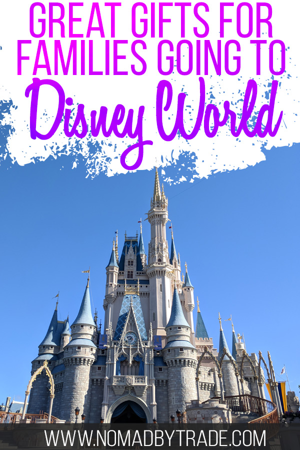 "Photo of Cinderella Castle with text overlay reading ""Great gifts for families going to Disney World"""
