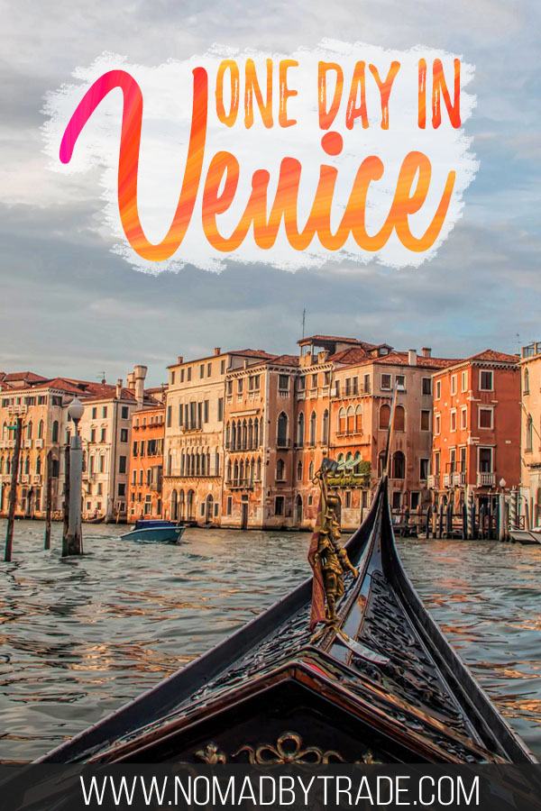 "Gondola on the Grand Canal with text overlay reading ""one day in Venice"""